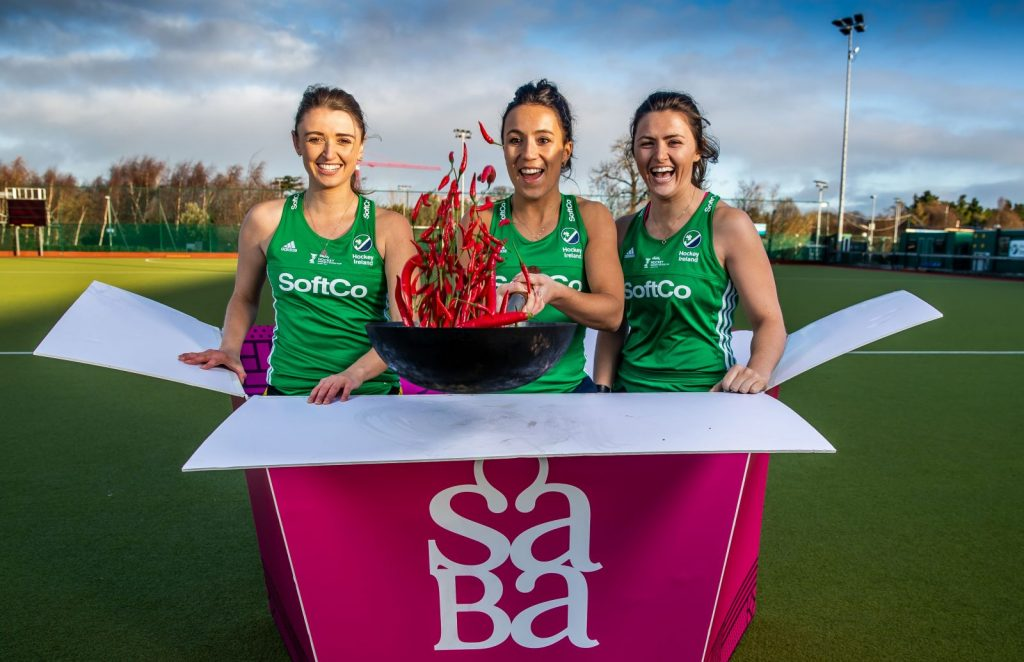 Hockey Ireland players inside a SABA to go box