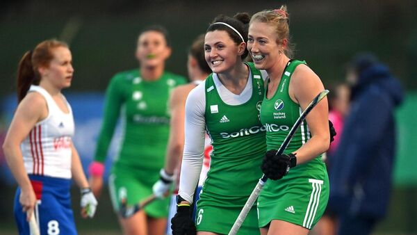 Roisin Upton, left, and Sarah Hawkshaw of Ireland celebrate following their side's victory in the SoftCo Series International Hockey match against Great Britain at Queens University Sports Grounds in Belfast. Photo by Ramsey Cardy/Sportsfile