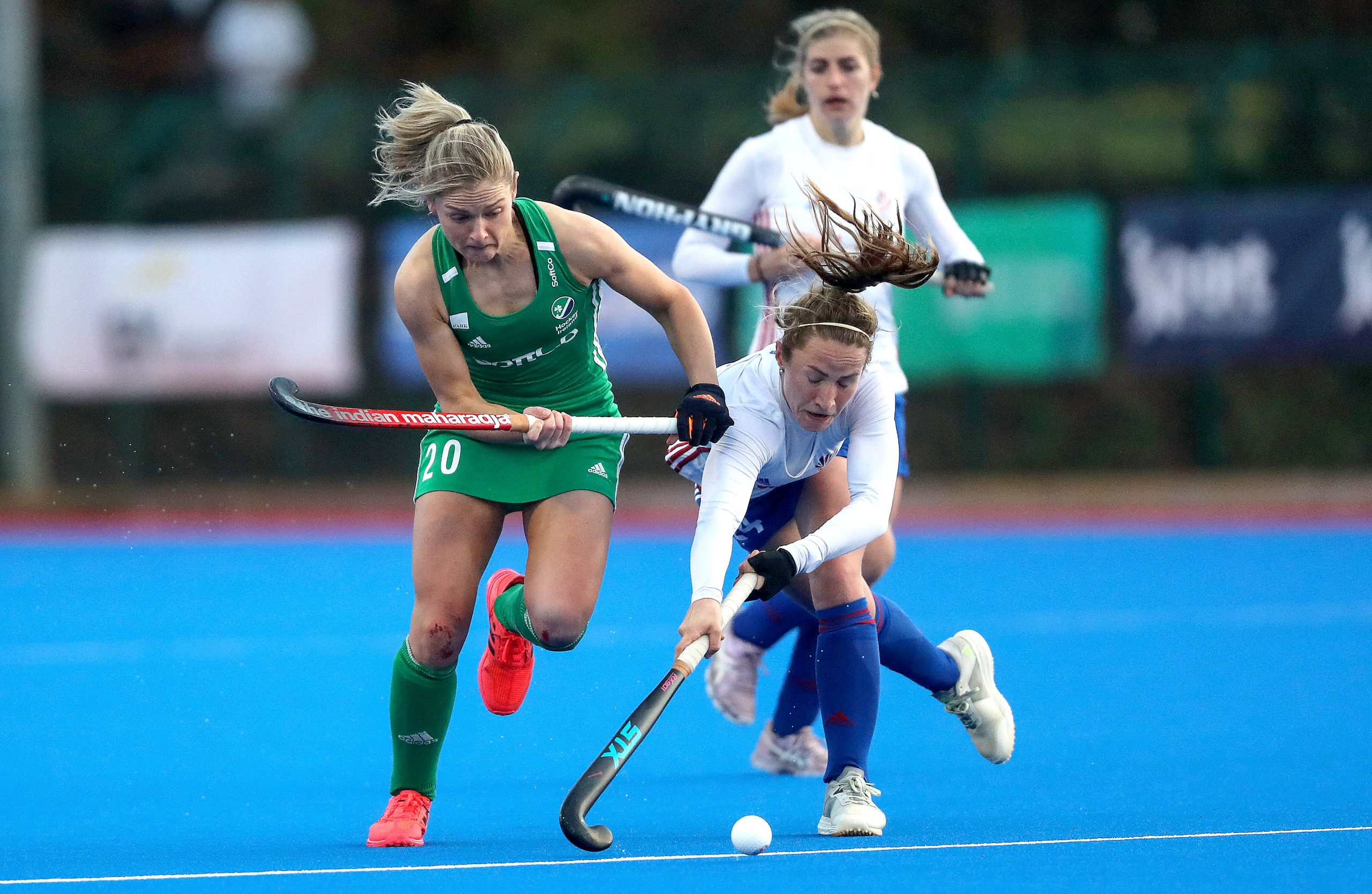 Chloe Watkins and Shona McCallin battle for the ball during the Ireland Vs Great Britain SoftCo series match
