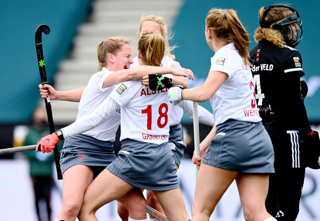 Amstelveen - Euro Hockey League Final4 2020-2021 Bronze: Amsterdamsche Hockey & Bandy Club - Der Club an der Alster Photo: Alster women celebrate the equalizer. WORLDSPORTPICS COPYRIGHT FRANK UIJLENBROEK