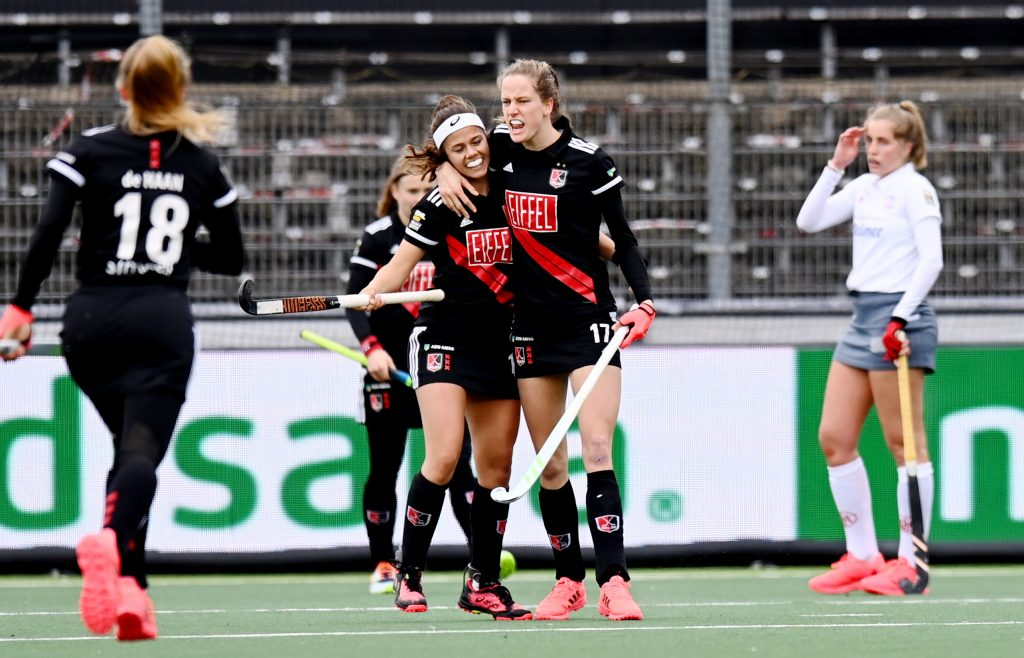 Amstelveen - Euro Hockey League Final4 2020-2021 Bronze: Amsterdamsche Hockey & Bandy Club - Der Club an der Alster Photo: Felice Albers scores the 2-1 and celebrates with Noor de Baat. WORLDSPORTPICS COPYRIGHT FRANK UIJLENBROEK